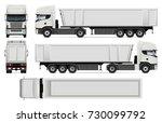 truck with trailer vector mock... | Shutterstock .eps vector #730099792