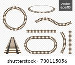 isolated vector rails set.... | Shutterstock .eps vector #730115056