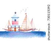 watercolor nautical...   Shutterstock . vector #730115392