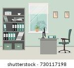 workplace of office worker....   Shutterstock .eps vector #730117198