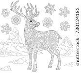 coloring page of deer  reindeer ... | Shutterstock .eps vector #730124182