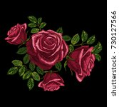 red roses embroidery. element... | Shutterstock .eps vector #730127566