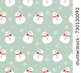 christmas snowman and... | Shutterstock .eps vector #730130092