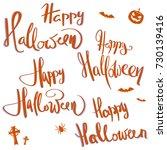 a set of hand written lettering ... | Shutterstock .eps vector #730139416