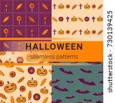 set of seamless halloween... | Shutterstock .eps vector #730139425