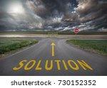 crossing with stop sign towards ... | Shutterstock . vector #730152352