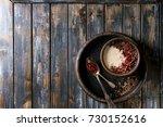 bowl of milk cereal porridge...   Shutterstock . vector #730152616