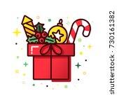 vector line style christmas... | Shutterstock .eps vector #730161382