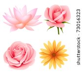 Stock vector vector flowers set of rose lotus daisy isolated on white 73016323