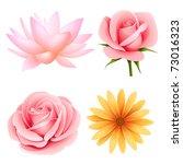 vector flowers set of rose ... | Shutterstock .eps vector #73016323
