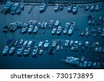 boats are docked on a riverside ... | Shutterstock . vector #730173895