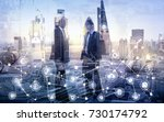 business men silhouettes in the ... | Shutterstock . vector #730174792