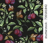embroidery plums and butterfly... | Shutterstock .eps vector #730181842