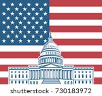 Stock vector united states flag with capitol building in washington dc 730183972
