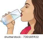 young woman drinking water | Shutterstock .eps vector #730185922