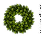 christmas wreath on white... | Shutterstock .eps vector #730185958