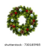 christmas wreath with balls on... | Shutterstock .eps vector #730185985