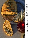 artisan made savoy olive loaf...   Shutterstock . vector #730187056