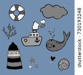 marine theme clip art.... | Shutterstock .eps vector #730193248