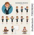 set of business woman character ... | Shutterstock .eps vector #730198342