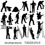 set of silhouettes of builder... | Shutterstock .eps vector #730201915