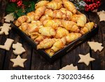 mini croissants with christmas...   Shutterstock . vector #730203466