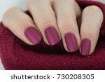 matte wine manicure   Shutterstock . vector #730208305