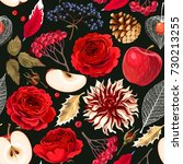 seamless pattern with roses and ... | Shutterstock .eps vector #730213255