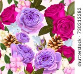 seamless pattern with roses and ... | Shutterstock .eps vector #730213282