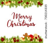 merry christmas card with... | Shutterstock .eps vector #730214335