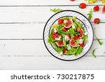 easy vegetarian salad with figs ... | Shutterstock . vector #730217875