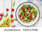 easy vegetarian salad with figs ... | Shutterstock . vector #730217968