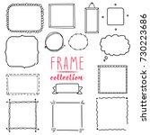 Hand Drawn Frame Set. Wreath...