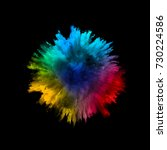 a colored explosion of powder.... | Shutterstock .eps vector #730224586