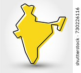yellow outline map of india ... | Shutterstock .eps vector #730226116