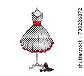 a stylish vintage dress  high... | Shutterstock .eps vector #730226872