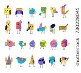 cartoon colorful funny little... | Shutterstock .eps vector #730228045