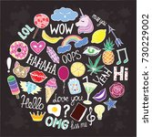 stickers set stickers unicorn ... | Shutterstock .eps vector #730229002