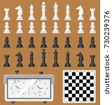 chess board and chessmen game... | Shutterstock .eps vector #730239376