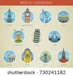 world landmarks. travel and... | Shutterstock .eps vector #730241182