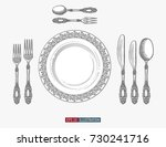 hand drawn plate spoons  forks... | Shutterstock .eps vector #730241716