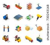 3d vector isometric warehouse... | Shutterstock .eps vector #730243168