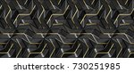 3d wall black panels with gold...   Shutterstock . vector #730251985