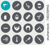 set of 16 barber icons set... | Shutterstock .eps vector #730258942