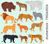 set of wild predators color... | Shutterstock .eps vector #730262026