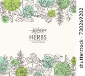 background with herbs  arugula  ... | Shutterstock .eps vector #730269202