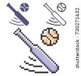 pixel icon of  baseball in... | Shutterstock .eps vector #730271632