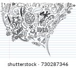 creative art doodles hand drawn ... | Shutterstock .eps vector #730287346