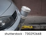 car crash into pillar on street ... | Shutterstock . vector #730292668