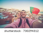 handsome tourists couple take...   Shutterstock . vector #730294312